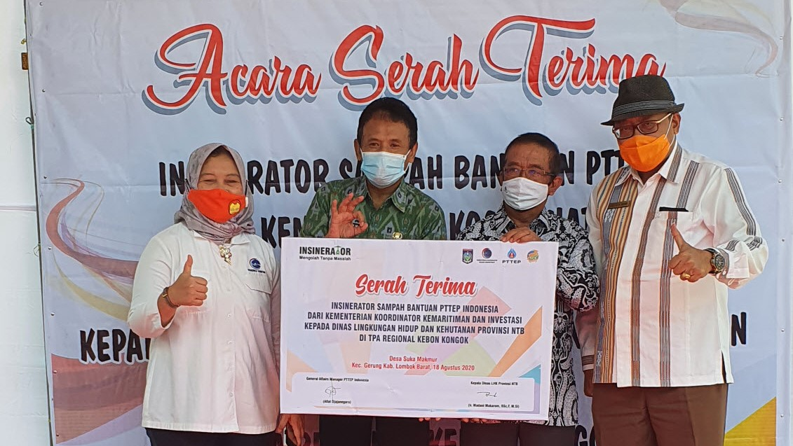 csr kesehatan Coordinating Ministry for Maritime and Investment Affairs and PTTEP donates 2 incinerators unit to the provincial government of West Nusa Tenggara